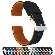 24mm Black/Pumpkin Orange - Barton Elite Silicone Watch Bands - Quick Release - Choose Strap Color & Width