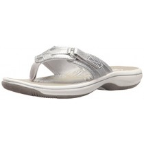 Clarks Women's Breeze Sea Flip Flop, New Silver Synthetic, 12 B(M) US