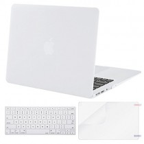 MOSISO Plastic Hard Case & Keyboard Cover & Screen Protector Only Compatible MacBook Air 13 Inch (Models: A1369 & A1466, Older Version 2010-2017 Release), White