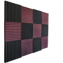 "Foamily 12 Pack- Burgundy/Charcoal Acoustic Panels Studio Foam Wedges 1"" X 12"" X 12"""