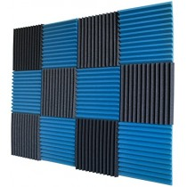 "12 Pack- Ice Blue/Charcoal Acoustic Panels Studio Foam Wedges 1"" X 12"" X 12"""
