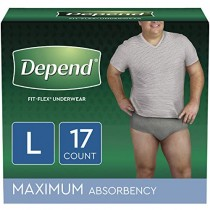 Depend FIT-FLEX Incontinence Underwear for Men, Maximum Absorbency, Large, Gray, 17 Count