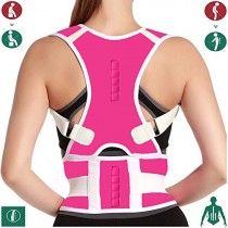 10 Magnets Back Braces for Back Pain - Best Fully Adjustable Posture Corrector for Men & Women - Improves Posture and 2 Steel Bone Provides Lumbar Support (Pink, Small)