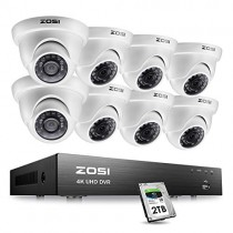 ZOSI 4K Ultra HD Security Cameras System, 8 Channel H.265+ 4K (3840x2160) Video DVR, 8 x 4K (8MP) Ip67 Surveillance Dome CCTV Camera, 100ft Night Vision, with 2TB Hard Drive