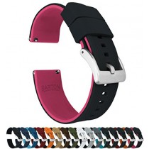 24mm Black/Pink - Barton Elite Silicone Watch Bands - Quick Release - Choose Strap Color & Width