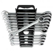 12pc MM/Metric TIGHTSPOT Ratcheting Wrenches - With Quick Access Wrench Organizer - Our standard in combination wrench sets from gear to tip