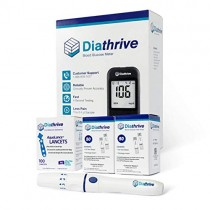 Diathrive Diabetes Testing Kit - Diathrive Blood Glucose Meter, 100 Blood Test Strips, 1 Lancing Device, 30 Gauge Lancets-100 Count, Control Solution, Logbook, and Carrying Case