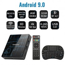 Android TV Box 9.0 4GB RAM 32GB ROM Set Top Box Smart TV Box RK3318 USB 3.0 Ultra HD 4K HDR Dual Band WiFi 2.4GHz 5.8GHz BT 4.1 Streaming Media Player with Mini Wireless Backlit Keyboard