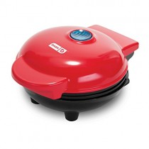 Dash DMS001RD Mini Maker Electric Round Griddle for Individual Pancakes, Cookies, Eggs & other on the go Breakfast, Lunch & Snacks with Indicator Light + Included Recipe  - Red