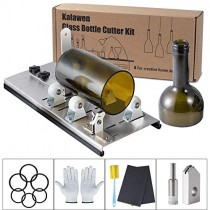 Kalawen Glass Bottle Cutter Bottle Cutter for Cutting Wine Beer Whiskey Alcohol Champagne with Glass Cutter Tool Kit Gloves Fixing Rubber Ring