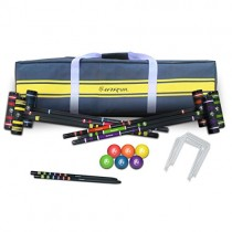 Harvil Complete Six-Player Croquet Set with Mallets, Balls, Stake Posts, Wickets and Carrying Case