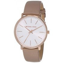Michael Kors Women's Pyper Stainless Steel Quartz Watch with Leather Strap, Rose Gold/Brown/White, 18