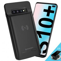 "[Upgraded] Samsung Galaxy S10 Plus Battery Case Qi Wireless Charging Compatible, Newdery 5000mAh Slim Rechargeable Portable Protective External Charger Case for Samsung Galaxy S10+ (6.4"" Black)"