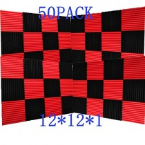 "50 Pack -Black/Red Acoustic Panels Studio Foam Wedges 1"" X 12"" X 12"" (50pack, Black&Red)"