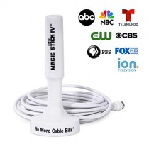 Magic Stick TV MS-50, 2018 Upgraded Model, Signal Booster Antenna for Digital HDTV 1080P HD Channels, 16.5ft Cable, White
