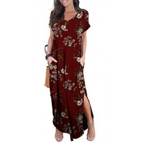 GRECERELLE Women's Casual Loose Long Dress Short Sleeve Floral Print Maxi Dresses with Pockets FP Wine Red-L