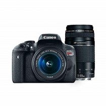 Canon EOS Rebel T6 Digital SLR Camera Kit with EF-S 18-55mm and EF 75-300mm Zoom Lenses (Black) (Renewed)
