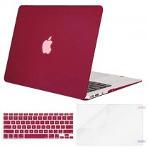 MOSISO Plastic Hard Case & Keyboard Cover & Screen Protector Only Compatible MacBook Air 13 Inch (Models: A1369 & A1466, Older Version 2010-2017 Release), Wine Red