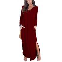 GRECERELLE Women's Casual Loose Pocket Long Dress Long Sleeve Split Maxi Dresses Wine Red L