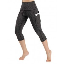ODODOS High Waist Out Pocket Yoga Capris Pants Tummy Control Workout Running 4 Way Stretch Yoga Leggings,SpaceDyeCharcoal,X-Small