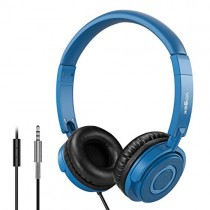 On Ear Headphones with Mic, Vogek Lightweight Portable Fold-Flat Stereo Bass Headphones with 1.5M Tangle Free Cord and Microphone-Navy