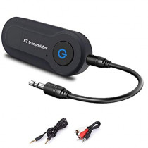 Portable Wireless Bluetooth Home Audio Transmitter Adapter for TV/Projector/Phone/PC/MP3/MP4 Music Players via AUX Cable Powered by USB,Pair with Bluetooth Headphones/Speakers