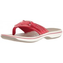 Clarks Women's Breeze Sea Flip Flop, New Red Synthetic, 11 B(M) US