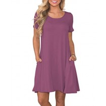 KORSIS Women's Summer Casual T Shirt Dresses Short Sleeve Swing Dress with Pockets Mauve S