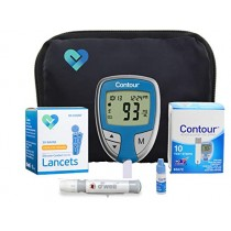 Contour Diabetes Testing Kit | Contour Blood Glucose Meter, 10 Contour Blood Glucose Test Strips, 50 O'well Lancets, O'well Lancing Device, Control Solution, Log Book, User Manuals and Carry Case