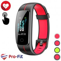 Pro-Fit Touch VeryFitPro Fitness Tracker IP68 Waterproof Activity Tracker Heart Rate Sleep Monitor (ID107C) (Black & Red)