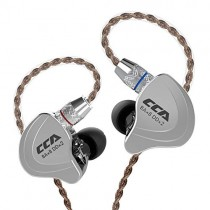 CCA C10 Five Drivers Hybrid In Ear Monitors in Each side,HiFi 4BA 1DD High Resolution Earphones/Earbuds with 3.5mm Gold Plated Plug Detachable Cable 2pin 0.75mm Wired Earbuds(Black without mic)