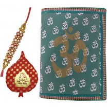 Purpledip Rakshabandhan Hamper for Brother: Vintage Om Diary, Rakhi and Roli Teeka (rakhi76)