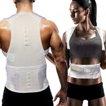 Magnet Back Brace Posture Corrector- Fully Adjustable Support Belt Improves Posture and Provides Lumbar Back Brace, Relieves Pain Upper and Lower Back for Men and Women (White (Upgrade), Large)