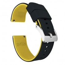 24mm Black/Yellow - Barton Elite Silicone Watch Bands - Quick Release - Choose Strap Color & Width
