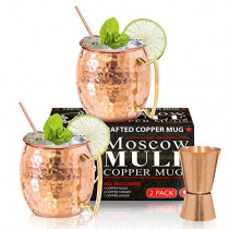 Benicci Moscow Mule Copper Mugs - Set of 2, 16 Ounce - Hammered and Handcrafted - with 2 Copper Straws and 1 Jigger