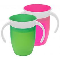 Munchkin Miracle 360 Trainer Cup, Pink/Green, 7 Ounce, 2 Count