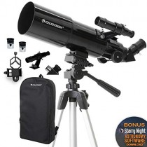 Celestron - 80mm Travel Scope - Portable Refractor Telescope - Fully-Coated Glass Optics - Ideal Telescope for Beginners - BONUS Astronomy Software Package - Digiscoping Smartphone Adapter