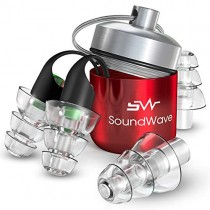 SoundWave Ear Plugs Noise Reduction- Noise Cancelling Earplugs for Studying and Sleeping - Sound Blocking Reusable High Fidelity Concert Hearing Protection - Great for Reducing Harmful