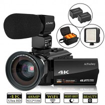 "Video Camera 4K Camcorder AiTechny Ultra HD Digital WiFi Camera 48MP 16X Digital Zoom Recorder IR Night Vision 3.0"" IPS Touch Screen with Microphone, Wide Angle Lens, LED Video Light, 2 Batteries"