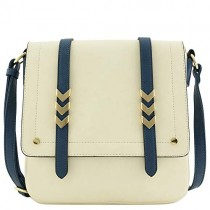 Double Compartment Large Flapover Crossbody Bag with Colorblock Straps Nude/Navy