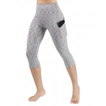 ODODOS High Waist Out Pocket Yoga Capris Pants Tummy Control Workout Running 4 Way Stretch Yoga Leggings,SpaceDyeGray,X-Small