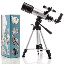 SkySpy 70mm Refractor Telescope with Extra Long Sturdy Tripod & Finder Scope, Portable with 3 Magnification eyepieces, Moon Mirror & Carrying case Great for Kids and Beginning Astronomers