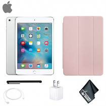 Apple iPad Mini 4 128GB Tablet 7.9 Inch (Wi-Fi, Silver) MK9P2LL/A - Bundle with Pink Apple ipad Mini 4 Case (Smart Cover)