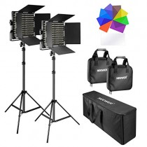 Neewer 2 Packs 660 LED Video Light with Stand Kit: (2)3200-5600K Dimmable CRI96+ Light with U Bracket and Barndoor (2)Light Stand (2)8-Color Filter Set (1)Large Carrying Bag for Studio Video Shooting