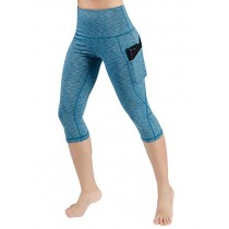 ODODOS High Waist Out Pocket Yoga Capris Pants Tummy Control Workout Running 4 Way Stretch Yoga Leggings,SpaceDyeBlue,X-Small