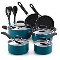 Cook N Home 02588 12-Piece Stay Cool Handle, Turquoise Nonstick Cookware Set