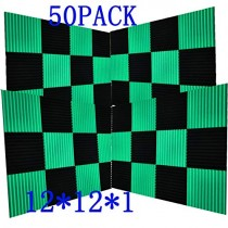 "50 Pack -Black Acoustic Panels Studio Foam Wedges 1"" X 12"" X 12"" (50pack, Black&Green)"
