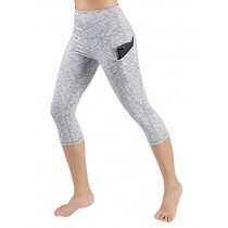 ODODOS High Waist Out Pocket Yoga Capris Pants Tummy Control Workout Running 4 Way Stretch Yoga Leggings,SpaceDyeWhite,X-Small