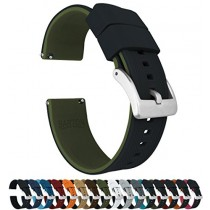 24mm Black/Army Green - Barton Elite Silicone Watch Bands - Quick Release - Choose Strap Color & Width
