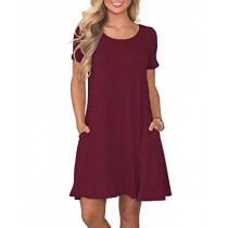 KORSIS Women's Summer Casual T Shirt Dresses Short Sleeve Swing Dress with Pockets WineRed M